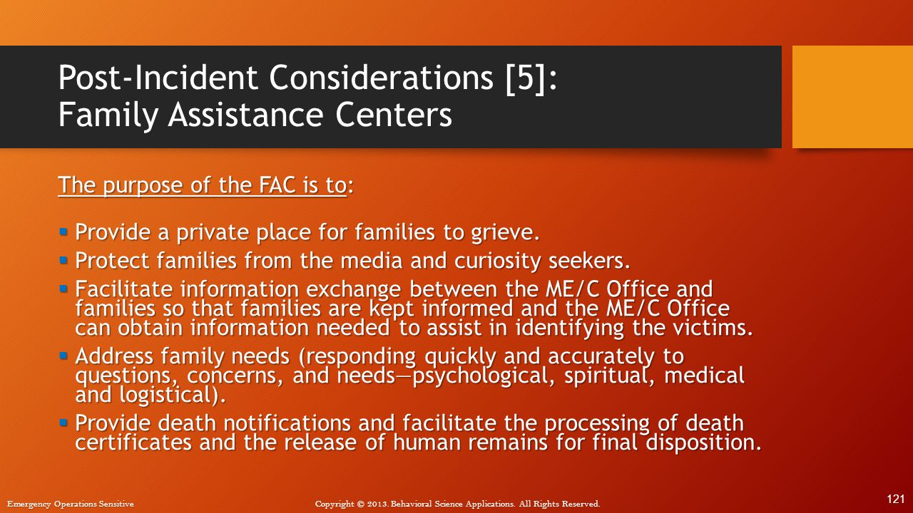 Post-Incident Considerations [5]: Family Assistance Centers